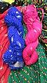 Bandhani tie and dye work on cloth,jaipur rajasthan India.jpg