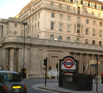Bank and Monument stations - Entrance at the Bank of England, by Bank junction