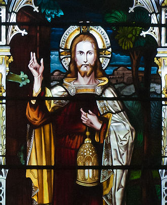 Light of the World - Detail on stained glass depicting Jesus: I am the light of the world, Bantry, Ireland.