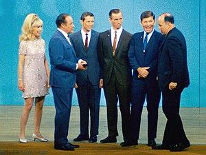 Donn F. Eisele - Barbara Eden, Bob Hope, the Apollo 7 astronauts, and Paul Haney (voice of Mission Control) on The Bob Hope Show (November 6, 1968)