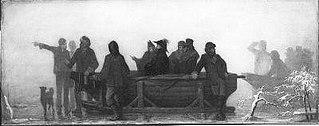 Anno 1861. Schaatsenrijders wijzen koning Willem III de weg tijdens de watersnood in de Bommelerwaard