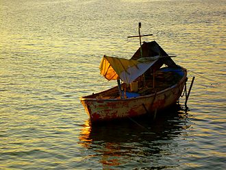 Tuxpan River (Veracruz) - Small boat in the Tuxpan River.