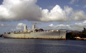 USS Admiral W. L. Capps (AP-121) - Barracks ship General Hugh J. Gaffey (IX-507) at Pearl Harbor, in 1987.