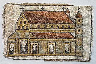 Mosaïque avec représentation d'église