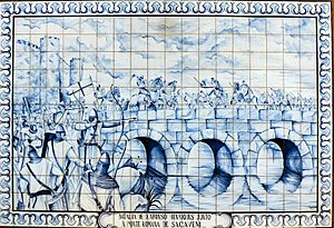 Sacavém - Afonso Henriques in battle, near the Roman bridge in Sacavém
