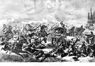 The Prussian 7th Cuirassiers charge the French guns at the Battle of Mars-La-Tour, 16 August 1870.