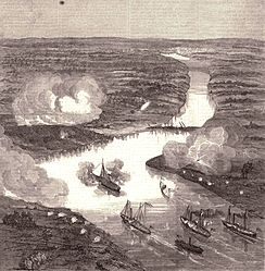 Engraving showing ships on the James River during the Battle of Drewy's Bluff