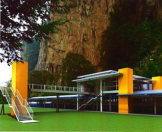 Railway electrification in Malaysia - An artist's impression of the new Batu Caves KTM Komuter station which will be constructed under the Sentul-Batu Caves double tracking and electrification project.