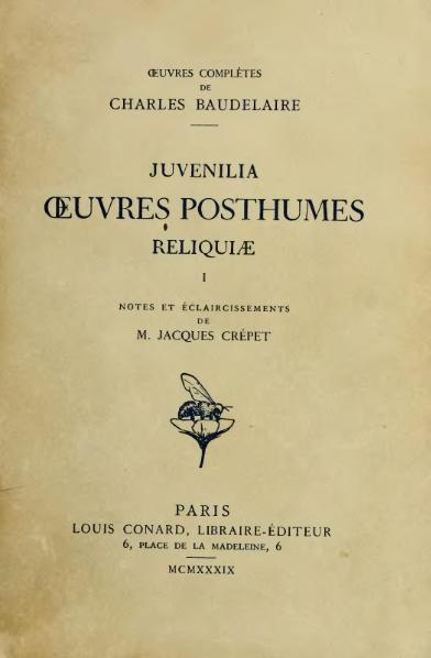 File:Baudelaire - Œuvres posthumes, I, Conard, 1939.djvu