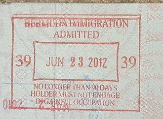 Visa policies of British Overseas Territories - Bermuda passport stamp