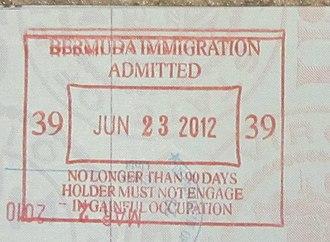 Visa policies of British Overseas Territories - Bermuda passport stamp