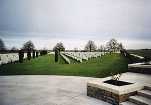 Bedford House Commonwealth War Graves Commission Cemetery - Bedford House from the central raised area, looking away from the entrance