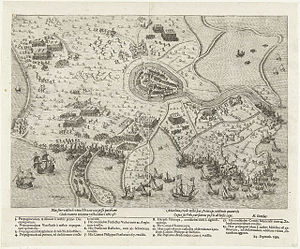 Bartholomeus Dolendo - Siege of Hulst by Prince Maurice, 1591, engraving by Dolendo, poem by Hugo Grotius