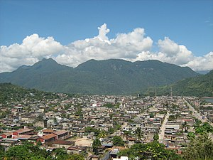 "Leoncio Prado Province - The town Tingo María with the mountains named ""The Sleeping Beauty"" in the background"