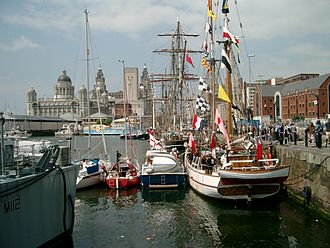 Canning Dock - Boats visiting in 2005, looking towards the Pier Head