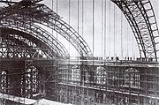 Anhalter Bahnhof hall roof construction works (around 1878)