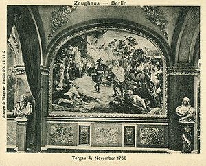 Battle of Torgau - Frederick embracing Zieten after the battle. Ruhmeshalle Berlin, wallpainting by Peter Janssen.