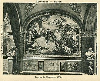 Battle of Torgau - Frederick embracing Zieten after the battle. Ruhmeshalle Berlin, wallpainting by Peter Janssen.
