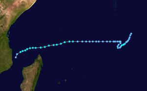 1973–74 South-West Indian Ocean cyclone season - Image: Bernadette 1973 track