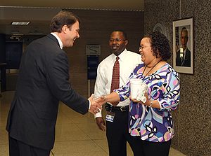 John Berry (administrator) - Berry greeting employees at OPM headquarters on his first day as agency director