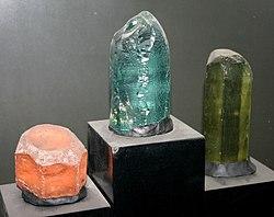 Three Beryl Crystals - Aquamarine rough crystal in the center
