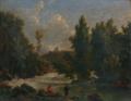Bidauld Paysage de rivière animé d'un pêcheur et de baigneuses.png