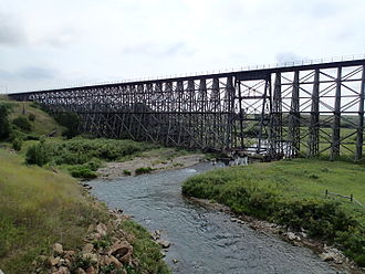 Big Spring Creek (Montana) - Great Northern and Milwaukee Road Spring Creek trestle at mile 12