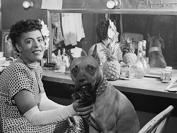 Holiday and her dog Mister, New York, c. June 1946 Billie Holiday and Mister, New York, N.Y., ca. June 1946 (William P. Gottlieb 04271).jpg