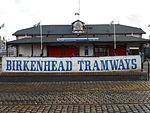 Birkenhead Tramways banner at Woodside Ferry Terminal.JPG