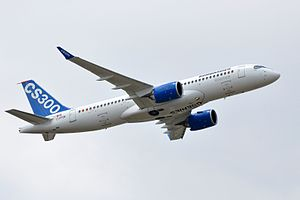 Economy of Canada -  Bombardier is currently developing the Cseries family of aircraft to better compete with narrow-body aircraft from Airbus and Boeing. Pictured here is a CS300 prototype C-FFDK in testing