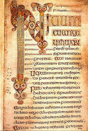 Mark 13 - Image of page from the 7th century Book of Durrow, from The Gospel of Mark. Trinity College Dublin