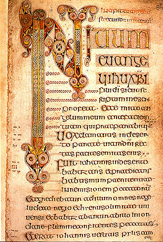 Mark 12 - Image of page from the 7th century Book of Durrow, from The Gospel of Mark, Trinity College Dublin