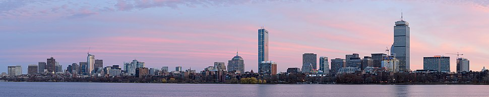‪ Sunset view of the Boston skyline and Charles River ‬