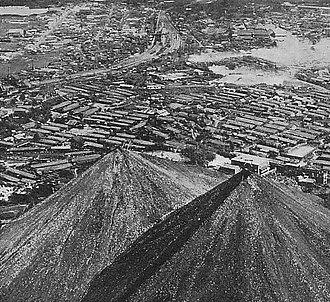 Spoil tip - Botayama (spoil tip) in Iizuka City, Japan, in the 1950s
