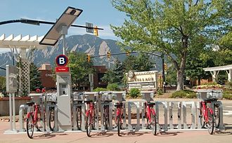 B-cycle - Solar powered Boulder B-cycle station with double sided docks.