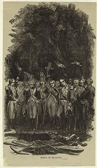 Edward Braddock - 19th-century engraving of General Braddock's burial near Great Meadows, Pennsylvania