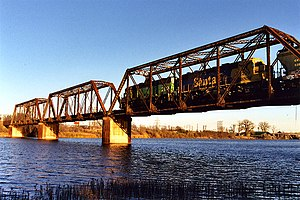 Railroad bridge over the Brazos River, Waco, T...