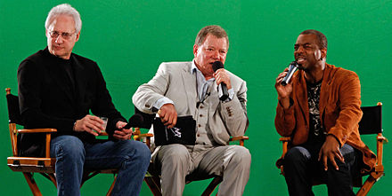 Burton with Brent Spiner and William Shatner in July 2010