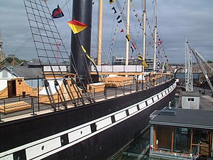 Bridge (nautical) - The bridge of the SS Great Britain is the white structure immediately behind the funnel. The ship's wheel is visible at the far end of the deck.