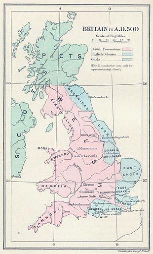 Mappa politica della Britannia nel 500, i Regni anglosassoni (in azzurro) furono ridotti alla costa orientale dopo la vittoria dei Britannici romanizzati (in rosa) nella battaglia del Monte Badon.