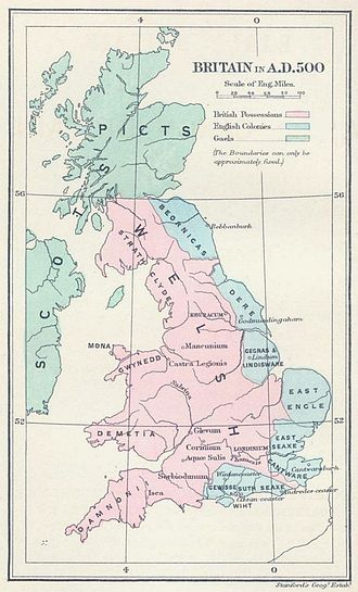 Wales - Britain in AD 500: The areas shaded pink on the map were inhabited by the Celtic Britons, here labelled Welsh. The pale blue areas in the east were controlled by Germanic tribes, whilst the pale green areas to the north were inhabited by the Gaels and Picts.