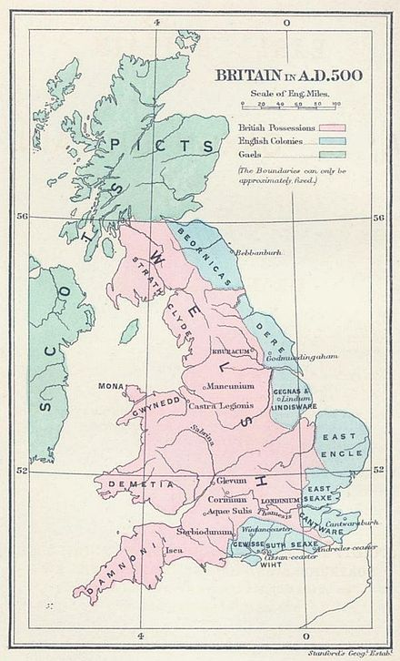 Britain in AD 500: The areas shaded pink on the map were inhabited by the Britons, here labelled Welsh. The pale blue areas in the east were controlled by Germanic tribes, whilst the pale green areas to the north were inhabited by the Gaels and Picts. Britain in AD500 - Project Gutenberg eText 16790.jpg