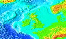 Uma imagem que mostra a plataforma geológica das Ilhas Britânicas.