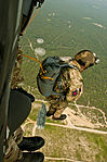 British Army Cpl. Ian Chapman, a paratrooper with 4th Battalion, The Parachute Regiment, exits a UH-60 Black Hawk helicopter during Operation Black Warrier above the Luzon Drop Zone at Fort Bragg, N.C., July 18 130718-A-CL830-474.jpg