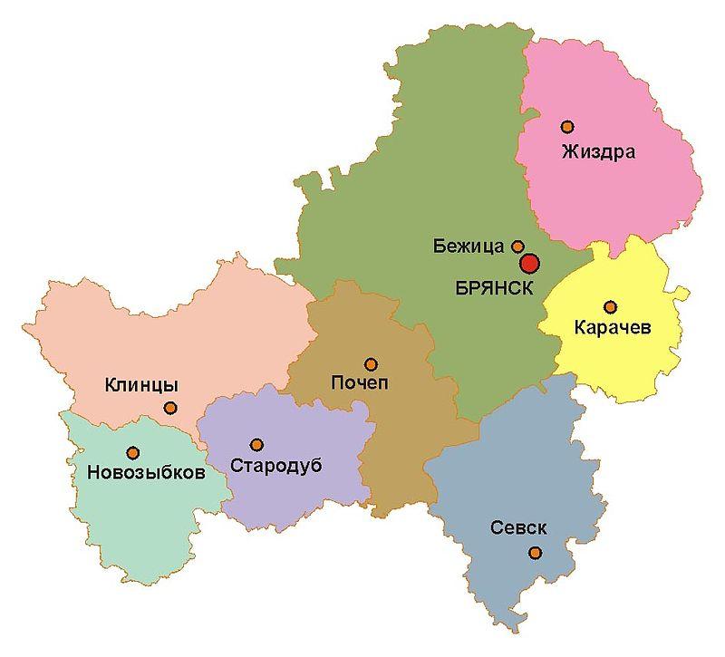 Брянская губерния на карте