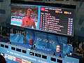Budapest2017 fina world championships - 100backstroke final - results - scoreboard - in interview Matt Grevers (USA).jpg