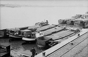 Operation Sea Lion - Invasion barges assembled at the German port of Wilhelmshaven.