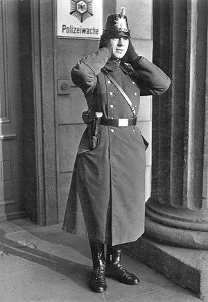 Schutzpolizei (Nazi Germany) - Policeman in the characteristic shako of the Schutzpolizei.