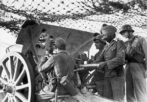 Indian Legion - Manning an artillery piece, February 1944
