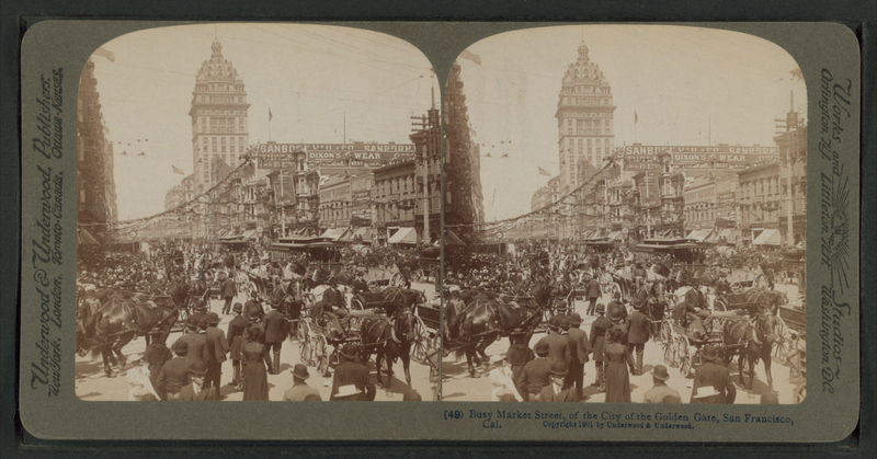 File:Busy Market Street, of the City of Golden Gate, San Francisco, Cal, from Robert N. Dennis collection of stereoscopic views.png